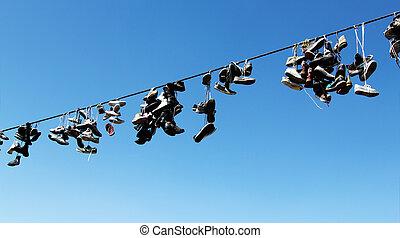 corda, antigas, botas, penduradas