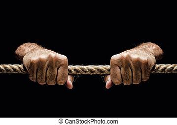 corda, apertado, segurando