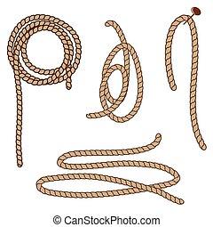 corda, astratto, elements., set, vettore, illustration.