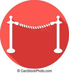 corda, barreira, apartamento, ícone