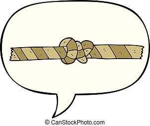 corda, bolla, annodato, discorso, cartone animato
