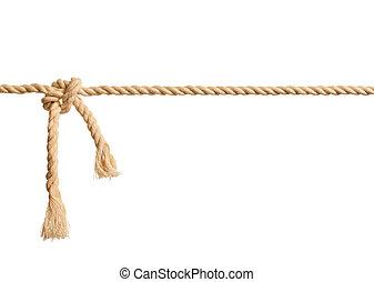 corda, branca, nó, fundo