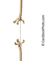 corda, cadeia, risco, danificado