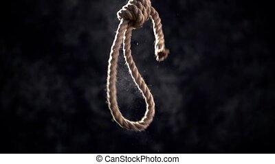 corda, cappio, con, boia, nodo, davanti, scuro, fondo.