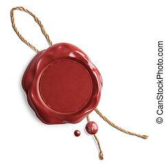 corda, cera, isolado, vermelho, selo