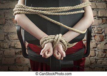 corda cima, amarrada, mãos