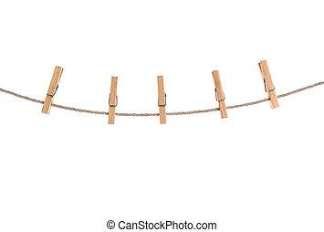 corda, clothespins