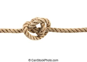 corda, com, nó amarrado