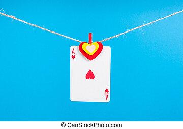 corda, coração, cavilha, ás, roupas