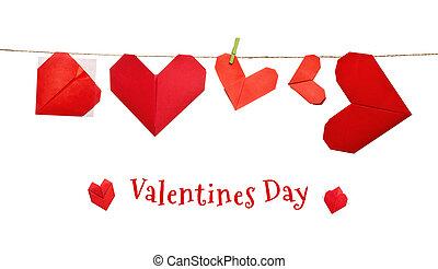 corda, corações, dia dos namorados, origami