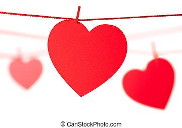corda, corações, penduradas