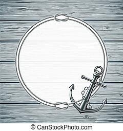corda, cornice, ancorare, scheda, nautico