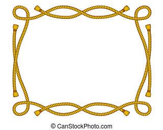 corda, cornice, bianco, isolato