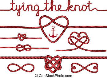 corda, cuori, e, nodi, vettore, set