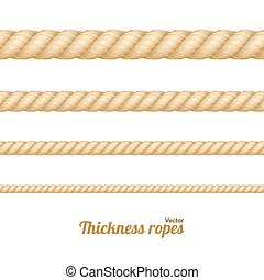 corda, diferente, vetorial, set., espessura