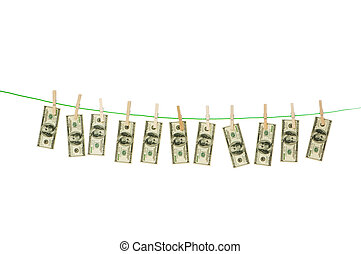 corda, dinheiro, dólares, conceito, passar roupa