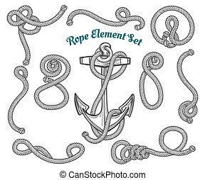 corda, disegnato, set, mano, elemento
