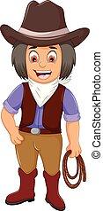 corda, divertente, cartone animato, presa a terra, cowboy