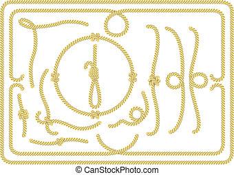 corda, elementos, desenho, cobrança