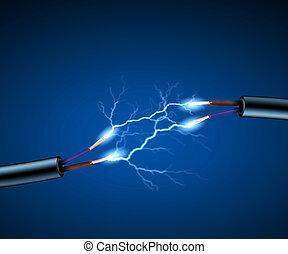 corda elettrica, con, elettricità, sparkls