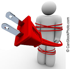 corda, elettrico, -, legato, persona, dipendenza, intorno