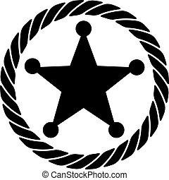 corda, emblema, xerife, ícone