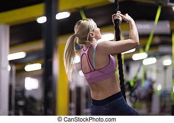 corda, escalando, mulher