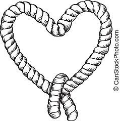 corda, fazer, forma coração