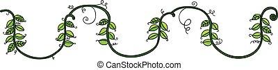 corda, folhas, verde