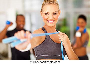 corda, ginásio, mulher, exercício, pular
