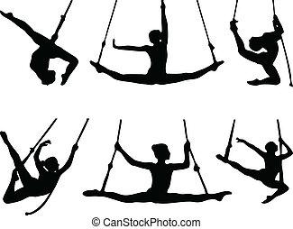 corda, jogo, dançarinos, seis