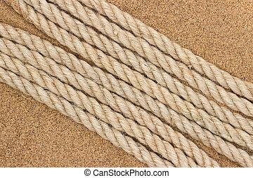 corda jute, ligado, a, mar, areia