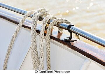 corda, lado, bote, penduradas