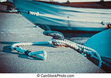 corda, ligado, a, proa, mar, nó, transporte