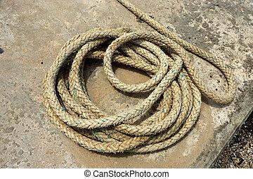 corda, ligado, cais, por, a, mar