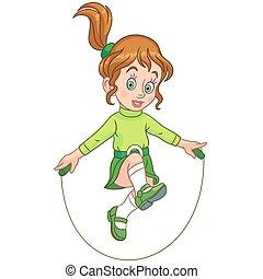 corda, menina, pular, caricatura