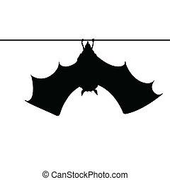 corda, morcego, silueta, penduradas