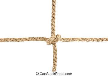 corda, nó, amarrada