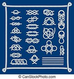 corda, nó, vetorial, illustration.