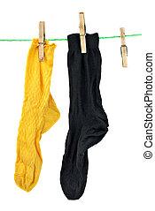 corda, nero, giallo, calzini, appendere