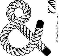 corda, nero, simbolo, vettore, ampersand