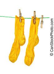 corda, paio, giallo, calzini, appendere