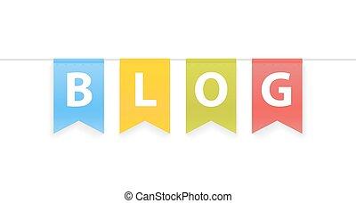 corda, parola, pennants, illustrazione, blog, vettore