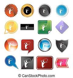 corda, pular, jogo, variedade, ícone