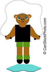 corda, pular, urso
