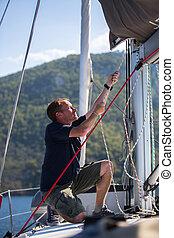 corda, puxa, mastro, yachtsman