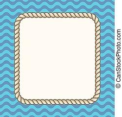 corda, quadro, fundo, mar, ondas