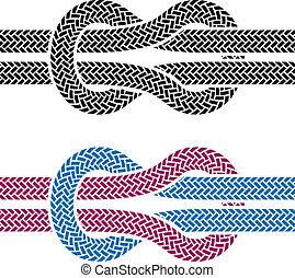 corda, rampicante, vettore, nodo, simboli