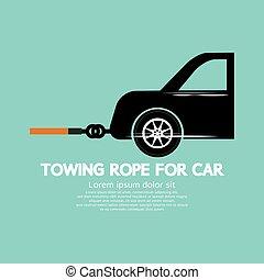 corda, reboque, carro.