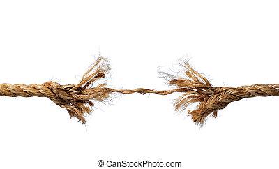 corda, rottura, circa, sfilacciato